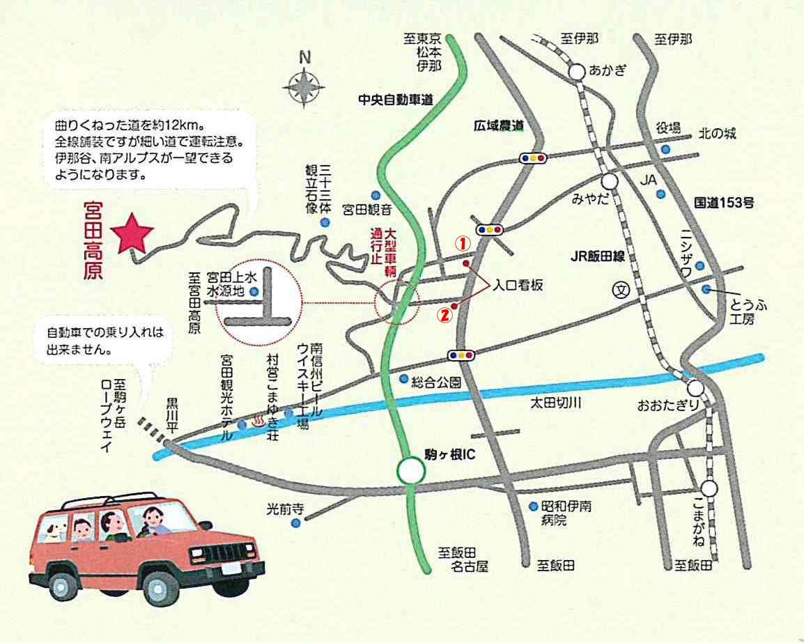 宮田高原キャンプ場 アクセスについて