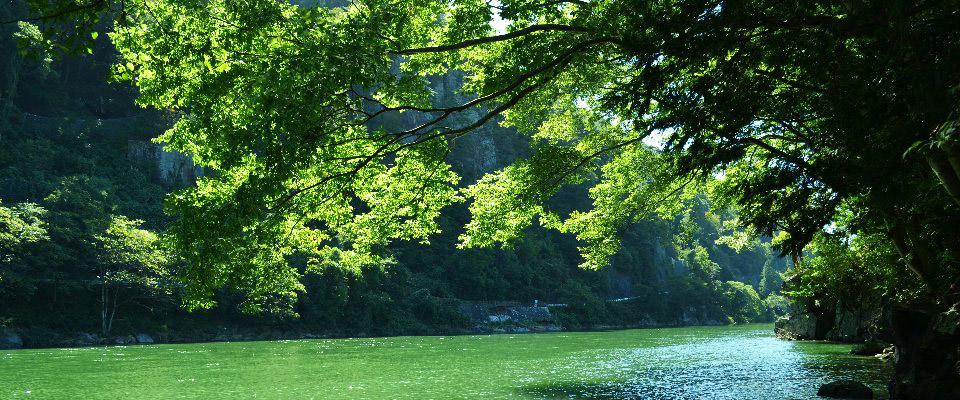 天竜川に架かる赤いつり橋